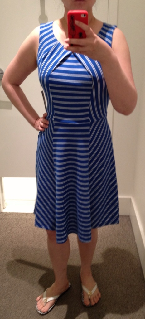 New York & Company fit and flare stripe dress