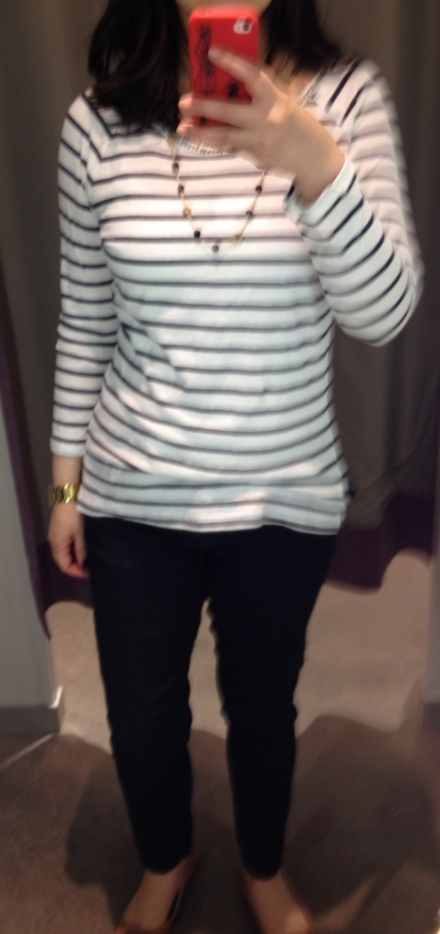 H&M Striped Tee with Embellished Neckline