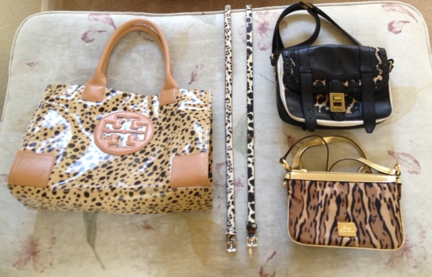 (l-r) Tory Burch Ella Tote, Target Belt, Ann Taylor Belt, (top) Sam Edelman crossbody, (bottom) Ralph Lauren crossbody